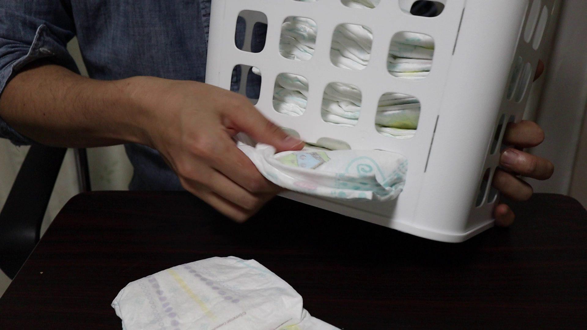 IKEAのゴミ箱を利用して格安オムツストッカーを作る